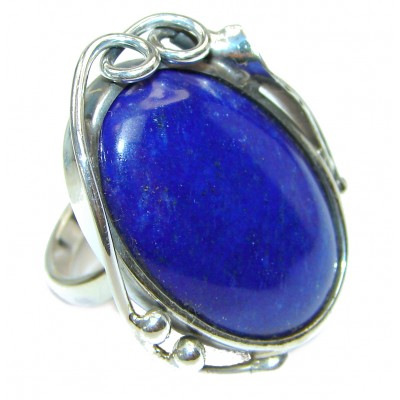 LARGE Natural Lapis Lazuli .925 Sterling Silver handcrafted ring size 7 adjustable