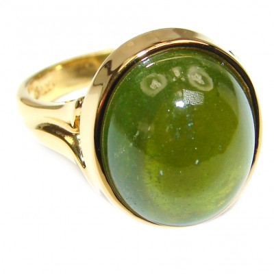 Authentic 16.5ctw Green Tourmaline Yellow gold over .925 Sterling Silver brilliantly handcrafted ring s. 7