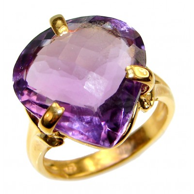 Authentic Pear cut 48ctw Amethyst 24K gold over .925 Sterling Silver brilliantly handcrafted ring s. 7 1/2