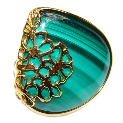 Natural BEST quality Malachite 18k Gold over .925 Sterling Silver handcrafted ring size 7 3/4