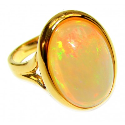 Bright Galaxy Genuine Ethiopian Opal 18K Gold over .925 Sterling Silver handmade HUGE Ring size 7