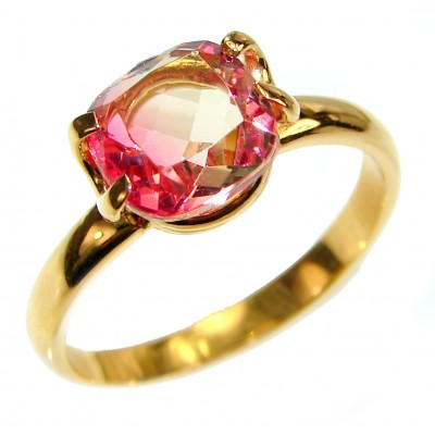 4.1 Watermelon Tourmaline 18K Gold over .925 Sterling Silver handcrafted Ring size 8