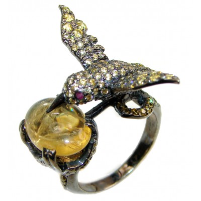 Hummingbird genuine Golden Rutilated Quartz black rhodium over .925 Sterling Silver handmade Ring size 9