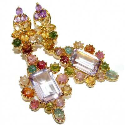 Pink Amethyst Tourmaline 18K Gold over .925 Sterling Silver entirely handmade earrings