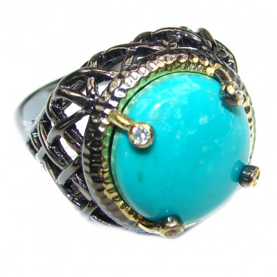 Under the Sea Huge Authentic Turquoise .925 Sterling Silver ring; s. 8
