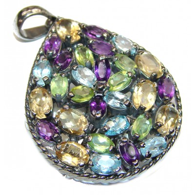 Genuine Multigem .925 Sterling Silver handcrafted Statement pendant