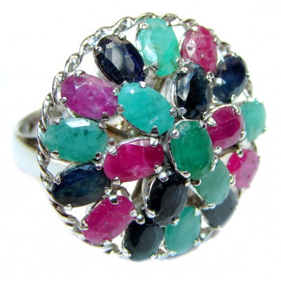 Valentina Genuine Ruby Emerald Sapphire .925 Sterling Silver handcrafted Statement Ring size 8