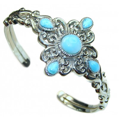 Classy Design authentic Blue Larimar .925 Sterling Silver handcrafted Bracelet / Cuff