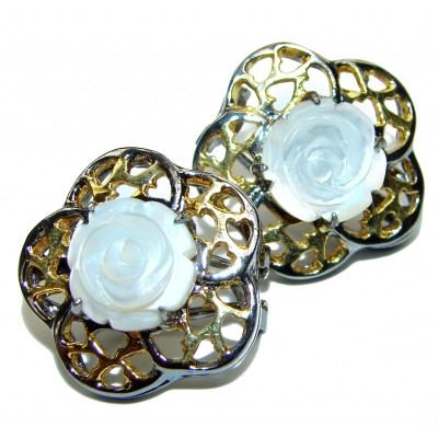 White Flower Blister Pearl black rhodium over .925 Sterling Silver stud earrings