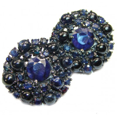 Red CARPET STYLE Authentic Sapphire .925 Sterling Silver handcrafted earrings