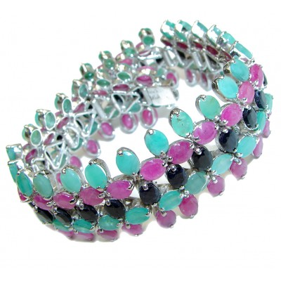 Green Ivy Huge authentic Emerald Ruby Sapphire .3925 Sterling Silver handcrafted Bracelet