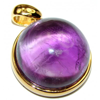 Purple Moon Genuine Amethyst 18K Gold over .925 Sterling Silver handcrafted pendant
