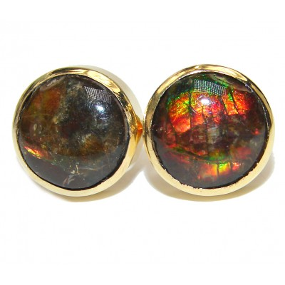 Sublime Aura Canadian Fire Ammolite 14K Gold over .925 Sterling Silver handmade earrings