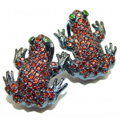 Red Frogs Garnet black rhodium over .925 Sterling Silver handcrafted earrings