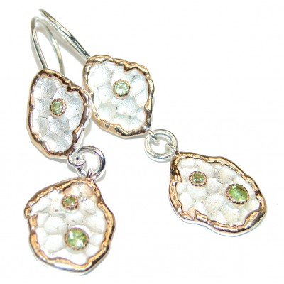 Authentic Peridot .925 Sterling Silver handmade earrings