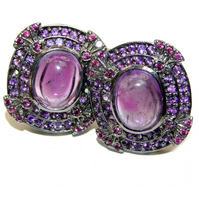 Violet Flame Authentic Amethyst .925 Sterling Silver handmade LARGE earrings