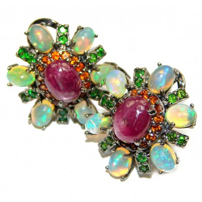 Authentic Star Ruby Ethiopian Opal Black Rhodium over .925 Sterling Silver handmade earrings