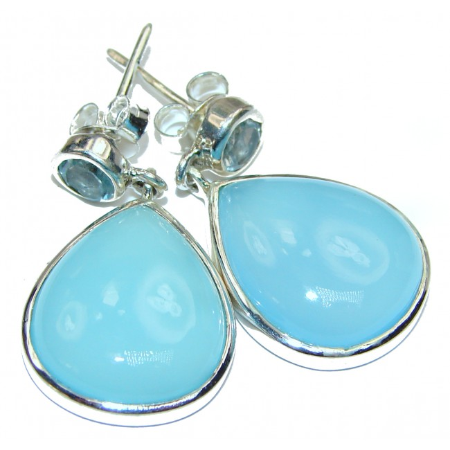 Sublime Blue Chalcedony Agate Sterling Silver handmade stud earrings