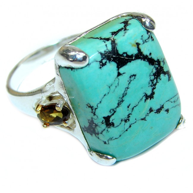Authentic Turquoise Citrine .925 Sterling Silver ring; s. 8 1/4