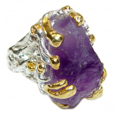 Jumbo Vintage Style Rough Amethyst .925 Sterling Silver handmade Cocktail Ring s. 8
