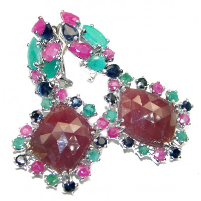 Incredible quality Ruby Emerald Sapphire .925 Sterling Silver handcrafted earrings