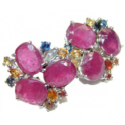Isabella Authentic Ruby multicolor Sapphire .925 Sterling Silver handmade earrings