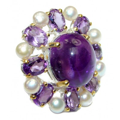 Purple Garden Amethyst Pearl .925 Sterling Silver Statement Huge Ring s. 7