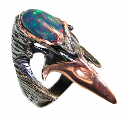 Plague Doctor 10.5ctw Genuine Black Opal Rose Gold over .925 Sterling Silver handmade Ring size 8 1/2