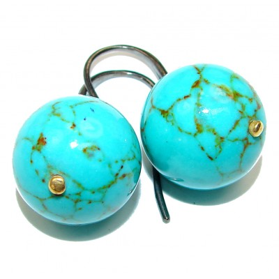 Bohemian Style Genuine Turquoise .925 Sterling Silver handcrafted Earrings