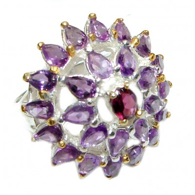 Authentic Oval cut 25ctw Amethyst gold over .925 Sterling Silver brilliantly handcrafted ring s. 8