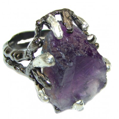 Jumbo Vintage Style Rough Amethyst .925 Sterling Silver handmade Cocktail Ring s. 7 3/4