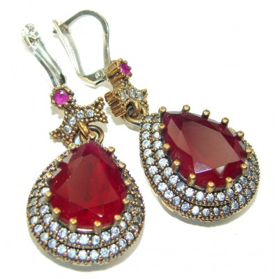 Victorian Style created Ruby .925 Sterling Silver handcrafted earrings
