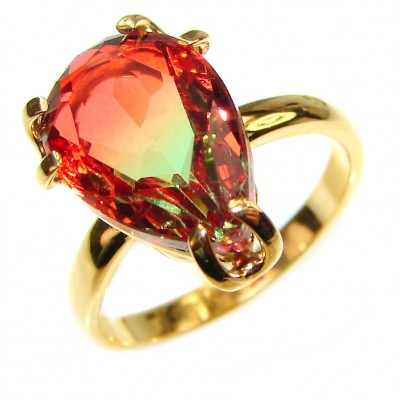 8.5ctw Watermelon Tourmaline Gold over .925 Sterling Silver handcrafted Ring size 7 3/4
