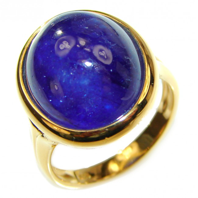 Genuine 26ct Sapphire 18K yellow Gold over .925 Sterling Silver handmade Cocktail Ring s. 8