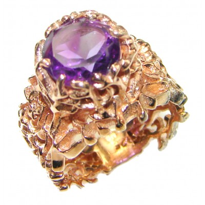 Purple Reef Amethyst Rose Gold over .925 Sterling Silver Ring size 6