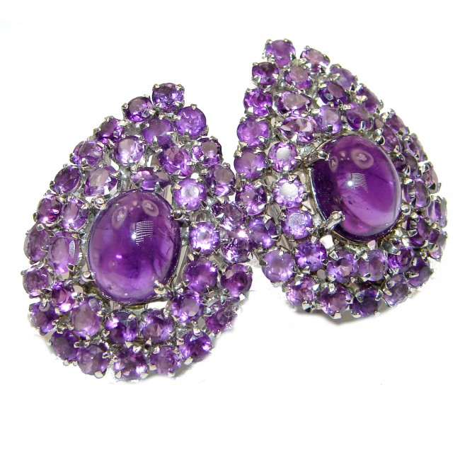 Natural Juicy Authentic Amethyst .925 Sterling Silver handmade LARGE earrings