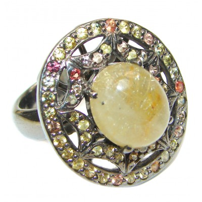 Golden Rutilated Quartz multicolor Sapphire .925 Sterling Silver handcrafted Ring Size 8
