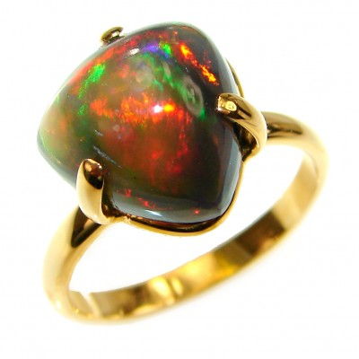 Pallete OF Colors 6.5ctw Genuine Black Opal 18K Gold over .925 Sterling Silver handmade Ring size 9 1/4