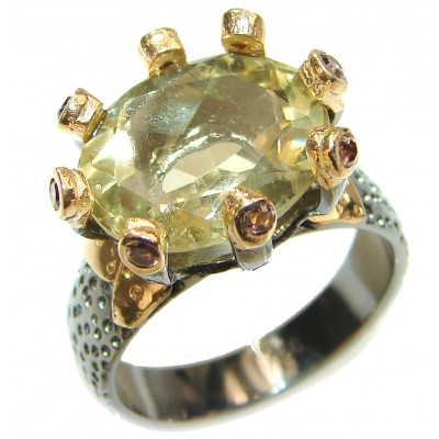 Cocktail Style Natural Citrine 2 tones .925 Sterling Silver handcrafted Ring s. 8 1/2