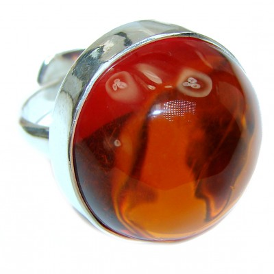 Vintage Design Genuine Polish Amber .925 Sterling Silver handmade ring size 7 adjustable