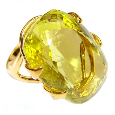 Royal Design 69ct Lemon Topaz 18K yellow Gold .925 Sterling Silver handmade ring size 8