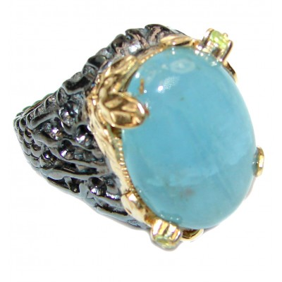Huge Aquamarine 18k Gold Rhodium over .925 Sterling Silver handcrafted ring size 8