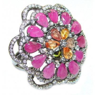 Spanish Fiesta authentic Ruby black rhodium over .925 Sterling Silver handcrafted HUGE Statement Ring size 8 1/4
