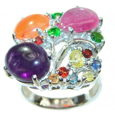 Fabulous Natural Multigem .925 Sterling Silver handmade ring s. 9 3/4