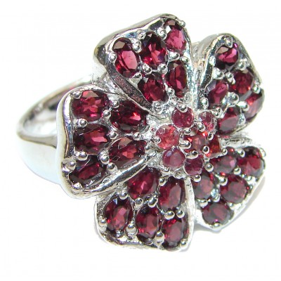 Laura Authentic Garnet .925 Sterling Silver brilliantly handcrafted ring s. 9