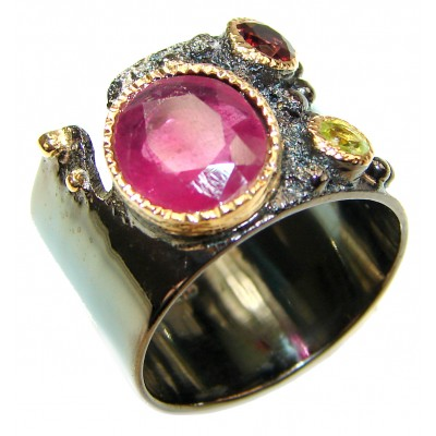 Genuine 15 ctw Ruby .925 Sterling Silver handcrafted Statement Ring size 8 1/4