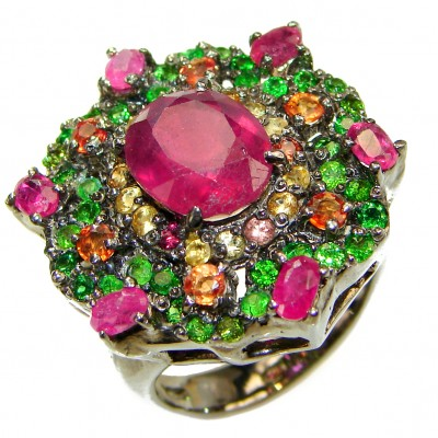 CARMEN Genuine Ruby .925 Sterling Silver handcrafted Statement HUGE Ring size 9 1/4