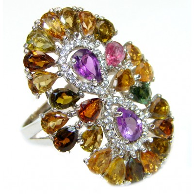 Valentina Genuine multicolor Sapphire .925 Sterling Silver handcrafted Statement Ring size 8