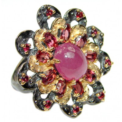 Cassiopeia Large Natural Ruby 2 tones .925 Sterling Silver handcrafted Ring s. 8