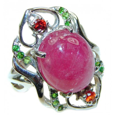 Perfect 32.5 ctw Ruby Sapphire .925 Sterling Silver handcrafted Statement Ring size 8